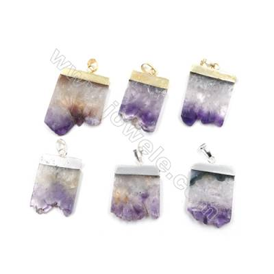 Natural Druzy Amethyst with Brass Pendants, (Golden, Platinum)Plated, Size 22~30 x 30~40mm, 5pcs/pack