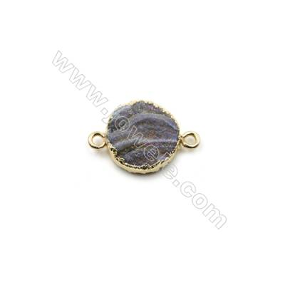 Electroplated Natural Druzy Agate Round Connectors, with Golden Plated Brass, Diameter 15mm, Hole 2mm, 6pcs/pack