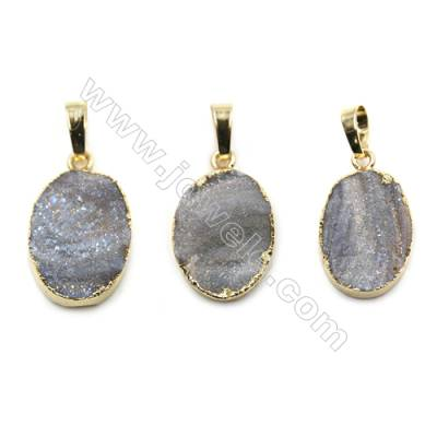 Electroplated Natural Druzy Agate Oval Pendants, with Golden Plated Brass, Size 15x20mm, 6pcs/pack