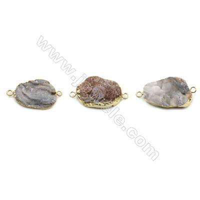 Electroplated Irregular Natural Druzy Agate Connectors, with Golden Plated Brass, Size 22x32mm, Hole 2.5mm, 6pcs/pack