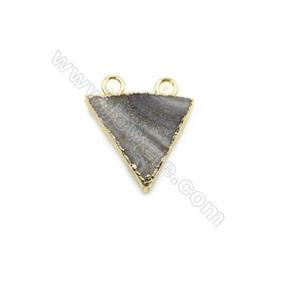 Electroplated Natural Druzy Agate Triangle Connectors, with Golden Plated Brass, Size 20x21mm, Hole 3mm, 6pcs/pack