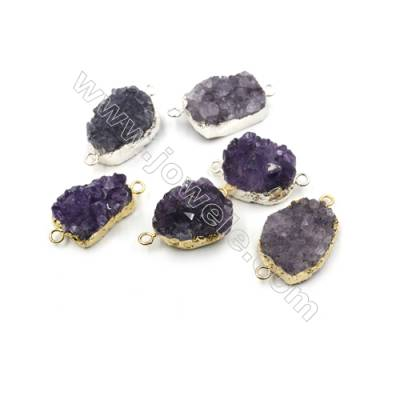 Natural Druzy Amethyst with Brass Connectors, Nuggets, (Golden, Platinum)Plated, Size 18~24 x 24~29mm, Hole 2.5mm, 5pcs/pack