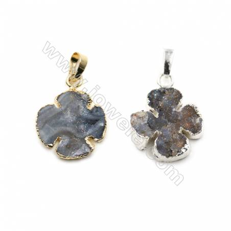 Electroplated Natural Druzy Agate with Brass Pendants, Clover, (Golden, Platinum) Plated, Size 20x20mm, 5pcs/pack