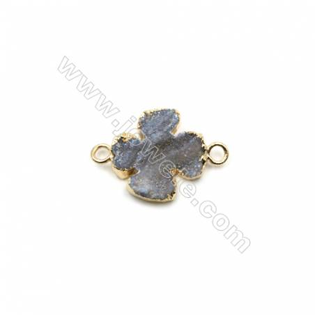 Electroplated Natural Druzy Agate Clover Connectors, with Golden Plated Brass, Size 19x20mm, 5pcs/pack