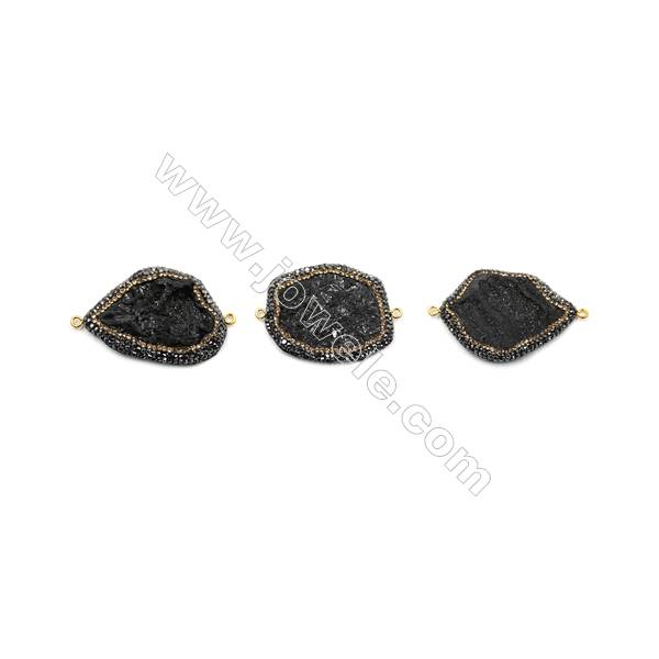 Irregular Natural Black Druzy Agate Paving Cubic Zirconia Connectors, Size 42~45 x 32~35mm, Hole 2mm, 4pcs/pack