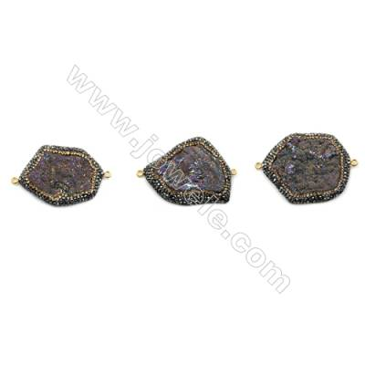 Irregular Natural Multicolor Druzy Agate Paving Cubic Zirconia Connectors, Size 33~40 x 43~46mm, Hole 2mm, 4pcs/pack
