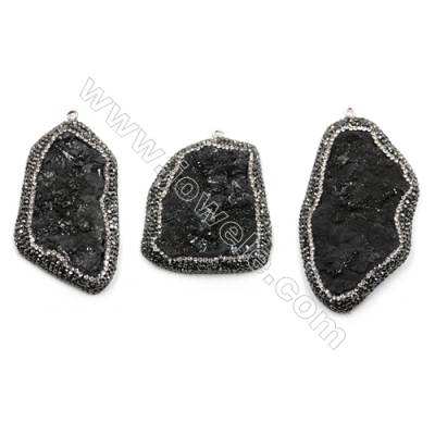 Irregular Natural Black Druzy Agate Paving Cubic Zirconia Pendants, Size 47~67 x 33~42mm, Hole 2mm, 4pcs/pack