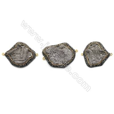 Irregular Natural Gray Druzy Agate Paving Cubic Zirconia Connectors, Size 42~46 x 37~44mm, Hole 2mm, 4pcs/pack