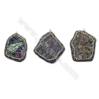 Irregular Natural Multicolor Druzy Agate Paving Cubic Zirconia Pendants, Size 47~52 x 36~48mm, Hole 2mm, 4pcs/pack