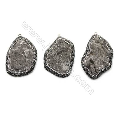 Irregular Natural Gray Druzy Agate Paving Cubic Zirconia Pendants, Size 49~55 x 36~38mm, Hole 2mm, 4pcs/pack