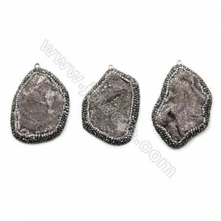 Irregular Natural Gray Druzy Agate Paving Cubic Zirconia Pendants, Size 49~55 x 36~38mm, Hole 2mm, 4pcs/pack