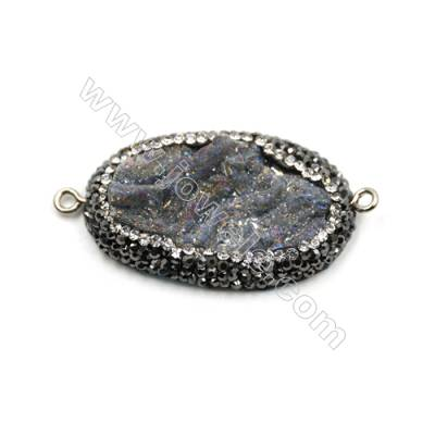 Natural Gray Druzy Agate Paving Cubic Zirconia Connectors, Oval, Stainless steel bottom, Size 38x24mm, Hole 2mm, 4pcs/pack