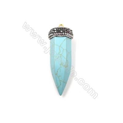 Synthesis Turquoise Pendants, with Mirco Pave Cubic Zirconia, Bullet(Faceted), Size 18x54mm, 6pcs/pack