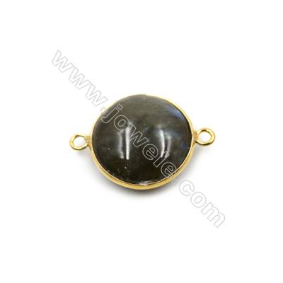 Natural Labradorite with Golden Brass Connectors, Round, Diameter 21mm, Hole 2mm, 6pcs/pack