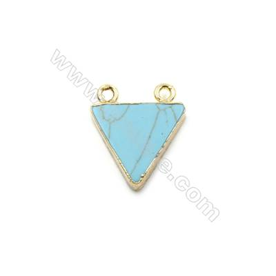 Synthesis Turquoise with Golden Brass Connectors, Triangle, Size 16x16mm, Hole 1.5mm, 8pcs/pack
