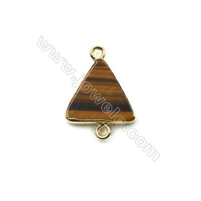 Natural Tiger's Eye with Golden Brass Connectors, Triangle, Size 16x16mm, Hole 1.5mm, 8pcs/pack
