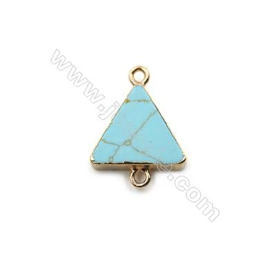 Synthesis Turquoise with Golden Brass Connectors, Triangle, Size 15x15mm, Hole 1.5mm, 8pcs/pack
