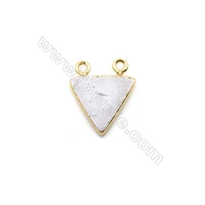 Natural Howlite with Golden Brass Connectors, Triangle, Size 15x15mm, Hole 1.5mm, 8pcs/pack