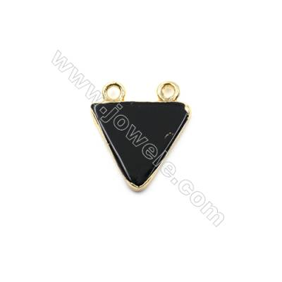Natural Black Agate with Golden Brass Connectors, Triangle, Size 15x15mm, Hole 1.5mm, 8pcs/pack