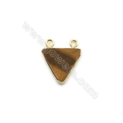 Natural Tiger's Eye with Golden Brass Connectors, Triangle, Size 15x15mm, Hole 1.5mm, 8pcs/pack