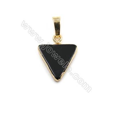 Natural Black Agate with Golden Brass Pendants, Triangle, Size 15x15mm, 8pcs/pack