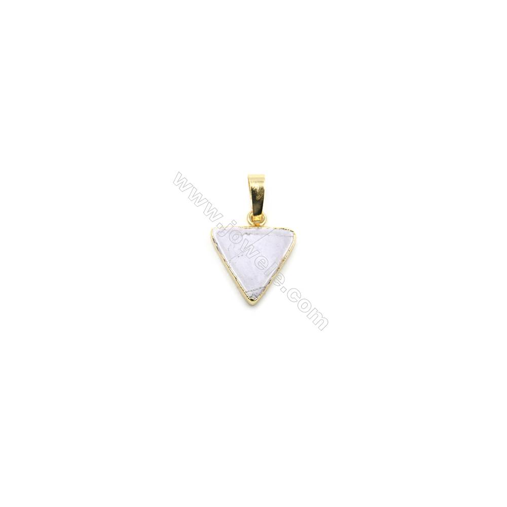 Natural Howlite with Golden Brass Pendants, Triangle, Size 15x15mm, 8pcs/pack