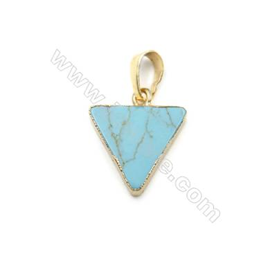 Synthesis Turquoise with Golden Brass Pendants, Triangle, Size 15x15mm, 8pcs/pack
