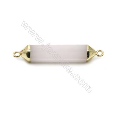 Natural Rose Quartz with Golden Brass Connectors, Bullet(Faceted), Size 8x38mm, Hole 2mm, 6pcs/pack