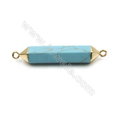 Synthesis Turquoise with Golden Brass Connectors, Bullet(Faceted), Size 8x38mm, Hole 2mm, 6pcs/pack