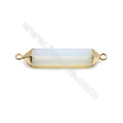 Synthesis Opal with Golden Brass Connectors, Bullet(Faceted), Size 8x38mm, Hole 2mm, 6pcs/pack