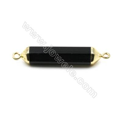 Natural Black Agate with Golden Brass Connectors, Bullet(Faceted), Size 8x38mm, Hole 2mm, 6pcs/pack