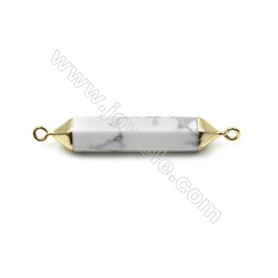 Natural Howlite with Golden Brass Connectors, Bullet(Faceted), Size 8x38mm, Hole 2mm, 6pcs/pack