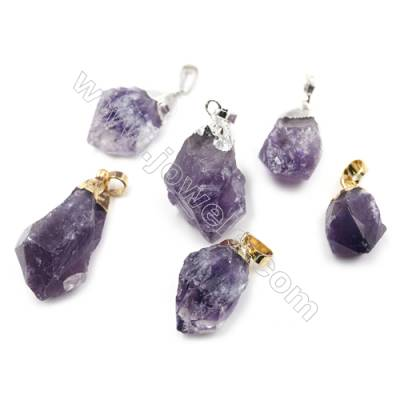 Irregular Natural Amethyst Pendants, Nuggets, with Brass Findings, (Golden, Platinum) Plated, Size 17~30x14~20mm, 14pcs/pack