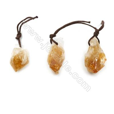 Irregular Natural Citrine Pendants, Nuggets, Size 25~32x13~16mm, 20pcs/pack