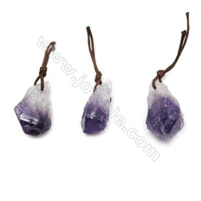 Irregular Natural Amethyst Pendants, Nuggets, Size 13~19x30~36mm, 20pcs/pack