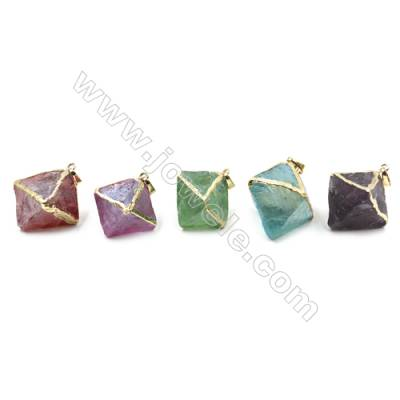 Electroplated Natural Fluorite Pendants, Gold Plated, Octahedron, Size 25x26x31mm, 6pcs/pack