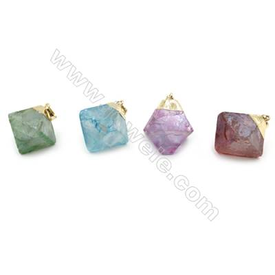 Electroplated Natural Fluorite Pendants, with Gold Plated Brass Findings, Octahedron, Size 24x26x20mm, 6pcs/pack