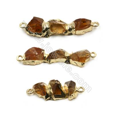 Irregular Natural Citrine with Golden Brass Connectors, Hole 2mm, Size 23~36x10~12mm, 4pcs/pack