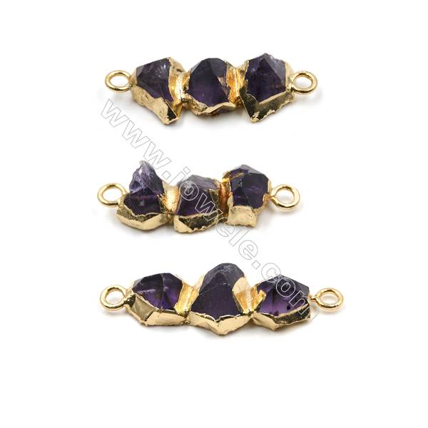 Irregular Natural Amethyst with Golden Brass Connectors, Hole 2mm, Size 26~31x11~14mm, 4pcs/pack