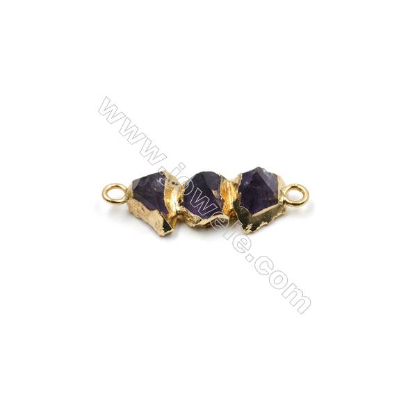 Irregular Natural Amethyst with Golden Brass Connectors  Hole 2mm  Size 26~31x11~14mm  4pcs/pack