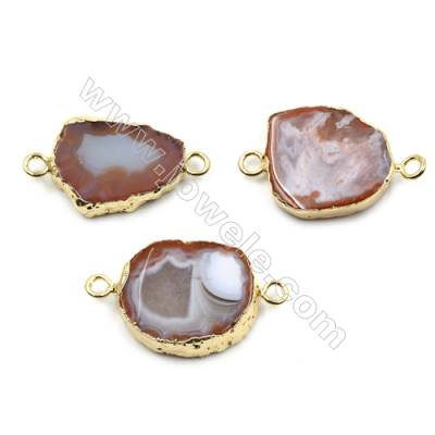 Irregular Natural Sardonyx Agate with Golden Brass Connectors, Hole 3mm, Size 19~23x23~27mm, 6pcs/pack