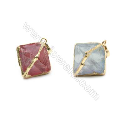 Electroplated Natural Fluorite Pendants, Gold Plated, Octahedron, Size 19x19x23mm, 8pcs/pack
