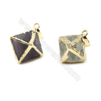 Electroplated Natural Fluorite Pendants, Gold Plated, Octahedron, Size 19x19x24mm, 8pcs/pack