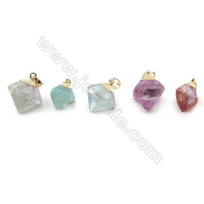 Electroplated Natural Fluorite Pendants, with Gold Plated Brass Findings, Octahedron, Size 19x19x23mm, 8pcs/pack