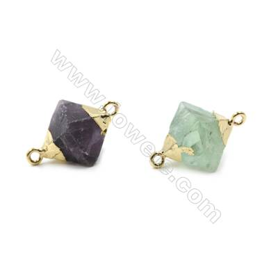 Electroplated Natural Fluorite Links, with Gold Plated Brass Findings, Octahedron, Size 14x14x19mm, Hole 1.5mm, 8pcs/pack