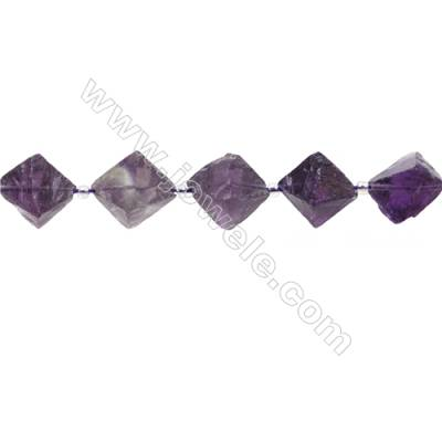 Natural Amethyst Bead Strands  Octahedron  Size 16x19mm  Hole 0.7mm  21 beads/pack  15~16""