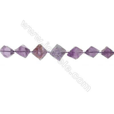 Natural Amethyst Bead Strands  Octahedron  Size 12x15mm  Hole 0.7mm  27 beads/pack  15~16""