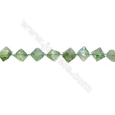 Electroplated Natural Fluorite Bead Strands  Octahedron  Size 9x11mm  Hole 0.8mm  33 beads/pack  15~16""