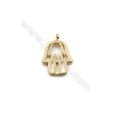 Brass Pendants  Real Gold-Filled  Hand  Size 11x16.5mm  Hole 1mm  80pcs/pack