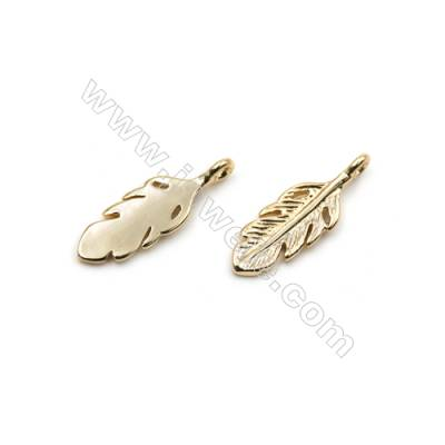 Brass Pendants  Real Gold-Filled  Leaves  Size 15x5mm  Hole 1mm  120pcs/pack